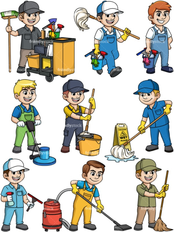 Male cleaning professionals. PNG - JPG and vector EPS file formats (infinitely scalable).