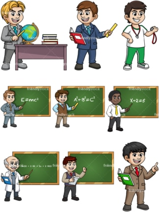 Male teachers. PNG - JPG and vector EPS file formats (infinitely scalable).