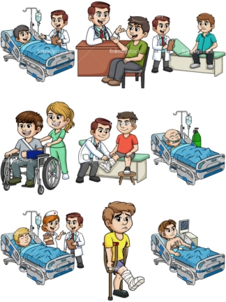 Men needing medical care. PNG - JPG and vector EPS file formats (infinitely scalable).