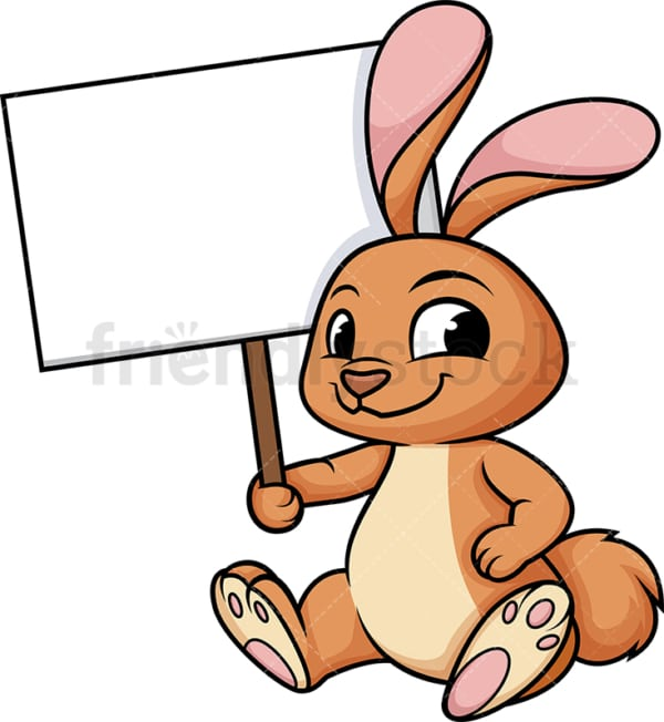 Bunny holding empty sign. PNG - JPG and vector EPS (infinitely scalable). Image isolated on transparent background.