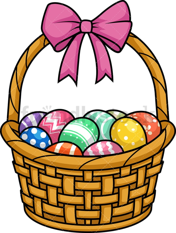 Easter eggs basket. PNG - JPG and vector EPS (infinitely scalable).