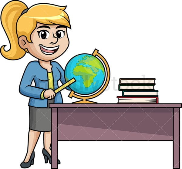 Female geography teacher. PNG - JPG and vector EPS (infinitely scalable).
