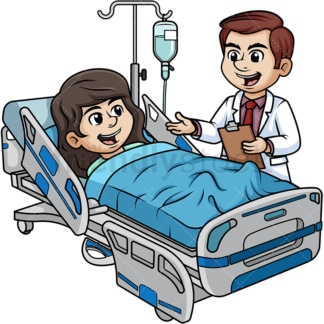 Hospitalized woman talking to doctor. PNG - JPG and vector EPS (infinitely scalable).
