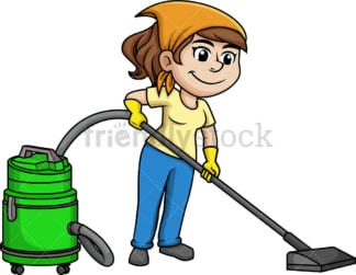 Woman vacuuming the floor. PNG - JPG and vector EPS (infinitely scalable).