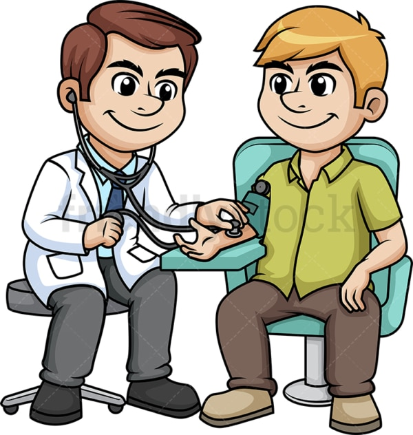 Doctor checking blood pressure. PNG - JPG and vector EPS (infinitely scalable).