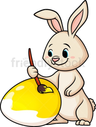 Easter bunny painting egg. PNG - JPG and vector EPS (infinitely scalable).
