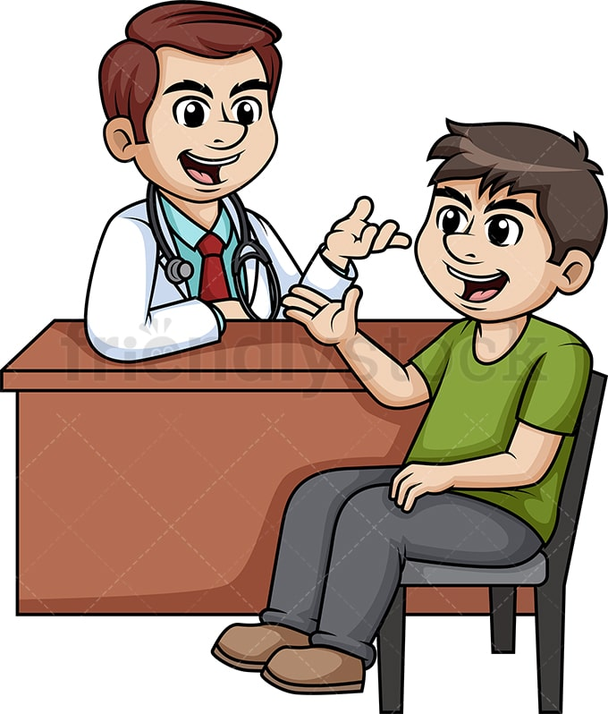 Man Discussing With Doctor Cartoon Clipart Vector ...