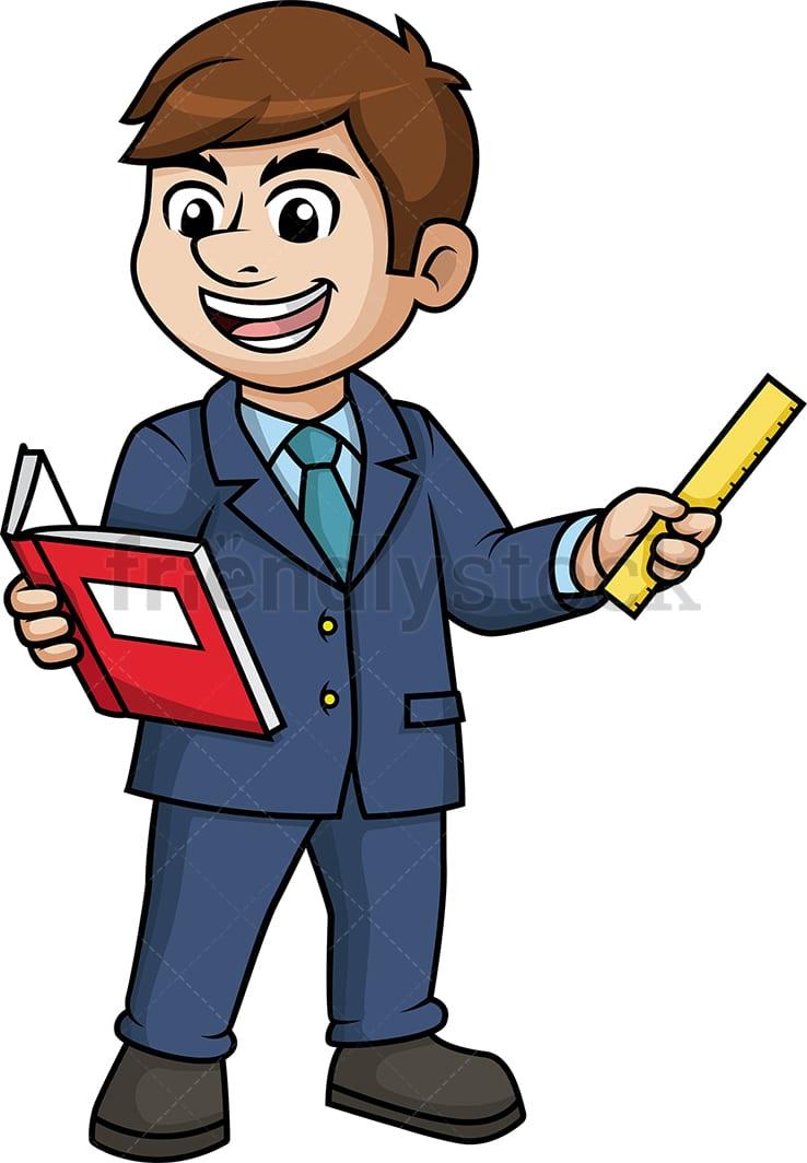 Man Teaching Cartoon Clipart Vector - FriendlyStock