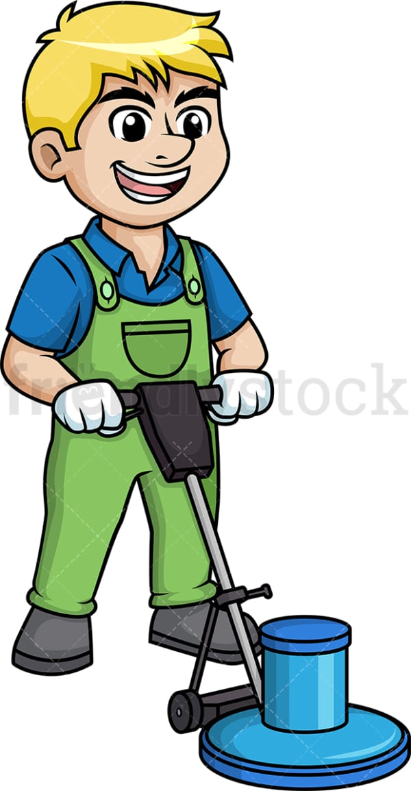 Man using floor polisher. PNG - JPG and vector EPS (infinitely scalable).