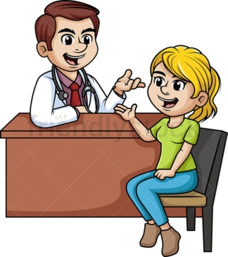 Woman chatting with a doctor. PNG - JPG and vector EPS (infinitely scalable).