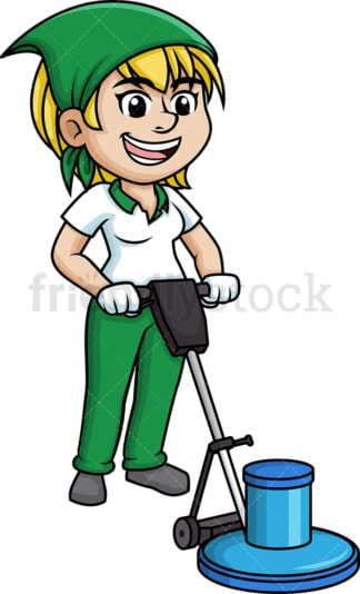 Woman polishing the floor. PNG - JPG and vector EPS (infinitely scalable).