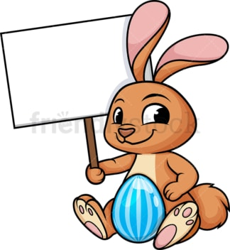 Easter bunny holding blank sign. PNG - JPG and vector EPS (infinitely scalable). Image isolated on transparent background.