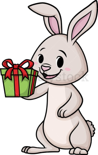 Excited easter bunny holding present. PNG - JPG and vector EPS (infinitely scalable).