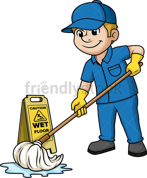 Man mopping the floor. PNG - JPG and vector EPS (infinitely scalable).