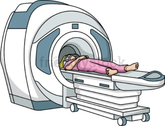 Woman getting an MRI scan. PNG - JPG and vector EPS (infinitely scalable).