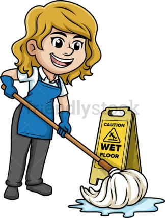 Woman mopping the floor. PNG - JPG and vector EPS (infinitely scalable).