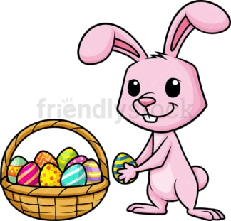 Bunny collecting easter eggs. PNG - JPG and vector EPS (infinitely scalable). Image isolated on transparent background.