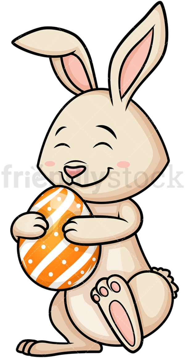 Easter bunny hugging Easter egg. PNG - JPG and vector EPS (infinitely scalable).