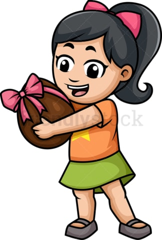 Little girl holding chocolate egg. PNG - JPG and vector EPS (infinitely scalable).