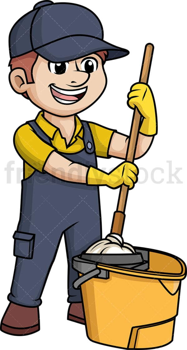 Male janitor with mop bucket. PNG - JPG and vector EPS (infinitely scalable).