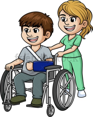 Nurse aiding man in wheelchair. PNG - JPG and vector EPS (infinitely scalable).