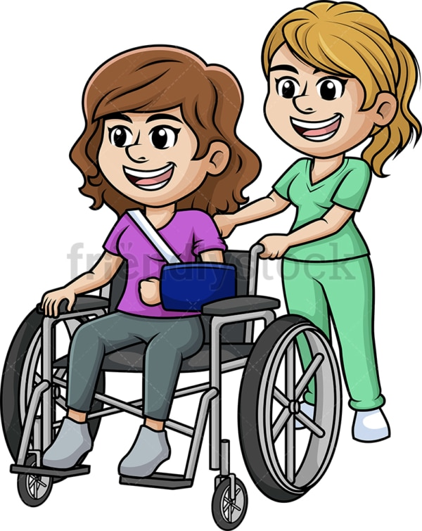 Nurse helping woman in wheelchair. PNG - JPG and vector EPS (infinitely scalable).