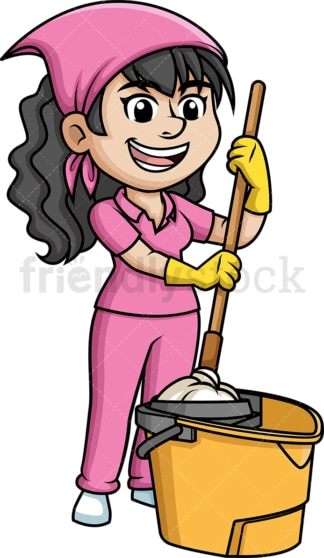 Woman squeezing a mop. PNG - JPG and vector EPS (infinitely scalable).