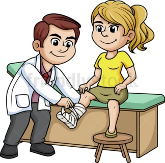 Doctor tending to a woman with broken leg. PNG - JPG and vector EPS (infinitely scalable).