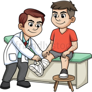Doctor tending to broken leg. PNG - JPG and vector EPS (infinitely scalable).