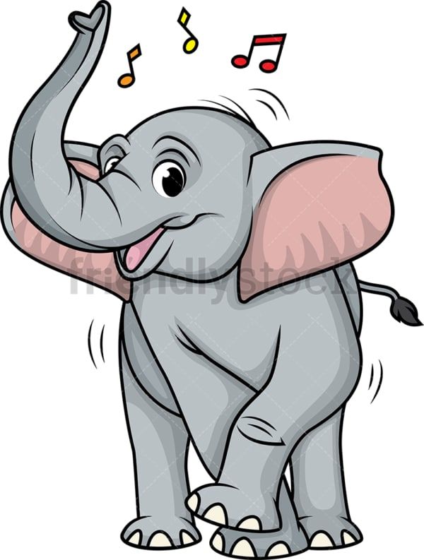 Elephant dancing. PNG - JPG and vector EPS (infinitely scalable).