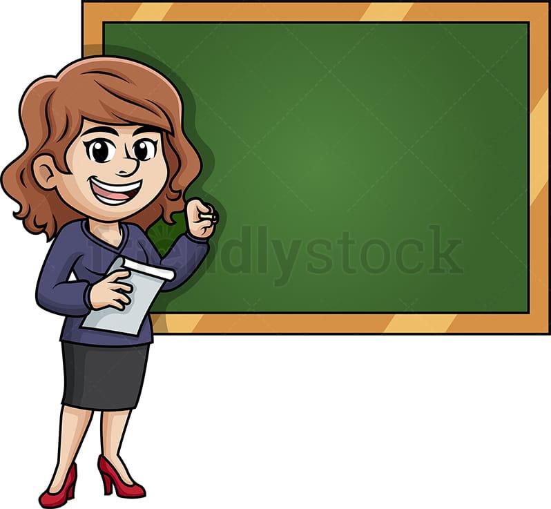 Female Writing Teacher Cartoon Clipart Vector - FriendlyStock