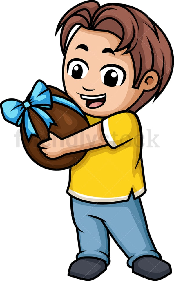 Little boy holding chocolate egg. PNG - JPG and vector EPS (infinitely scalable).
