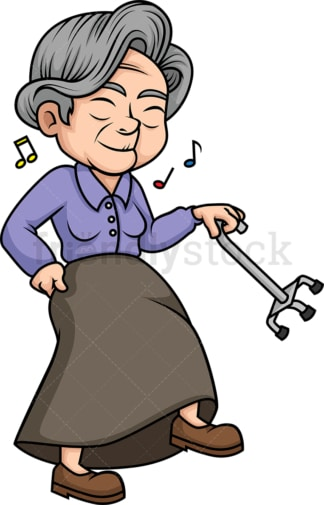 Old lady dancing. PNG - JPG and vector EPS (infinitely scalable).