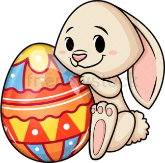 Shy easter bunny. PNG - JPG and vector EPS (infinitely scalable). Image isolated on transparent background.