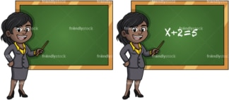 African american female math teacher. PNG - JPG and vector EPS (infinitely scalable).