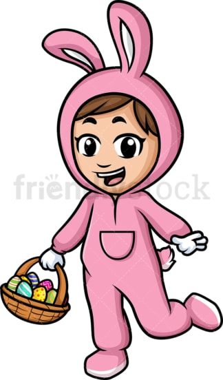 Little girl holding basket with easter eggs. PNG - JPG and vector EPS (infinitely scalable).