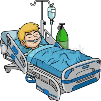 Man in coma in the hospital. PNG - JPG and vector EPS (infinitely scalable).