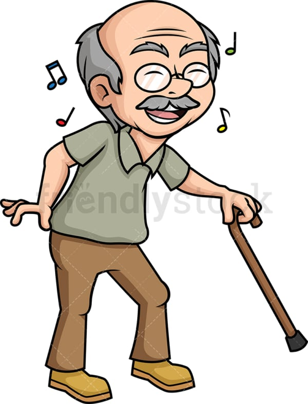 Old man dancing. PNG - JPG and vector EPS (infinitely scalable).