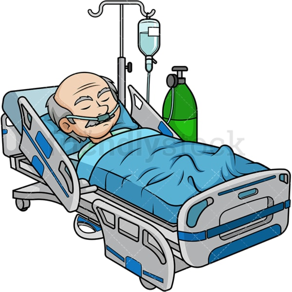 Old man in hospital bed. PNG - JPG and vector EPS (infinitely scalable).