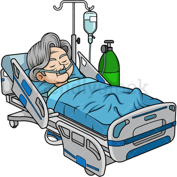 Old woman in hospital bed. PNG - JPG and vector EPS (infinitely scalable).