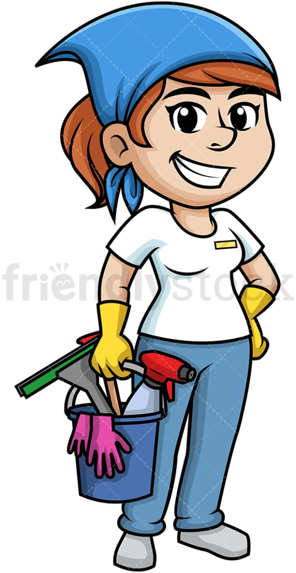 Woman holding cleaning tools. PNG - JPG and vector EPS (infinitely scalable).