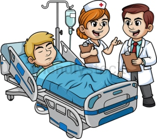 Doctor and nurse visiting patient. PNG - JPG and vector EPS (infinitely scalable).