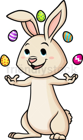 Easter bunny juggling eggs. PNG - JPG and vector EPS (infinitely scalable).