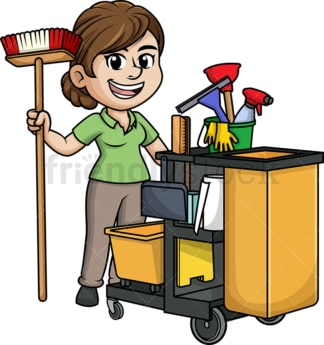 Female janitor with cleaning cart. PNG - JPG and vector EPS (infinitely scalable).