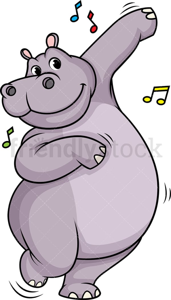 Hippo dancing. PNG - JPG and vector EPS (infinitely scalable).