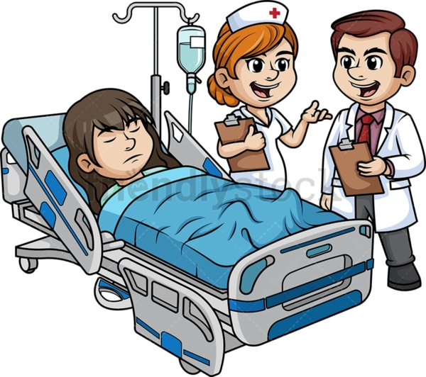 Hospital staff with female patient. PNG - JPG and vector EPS (infinitely scalable).