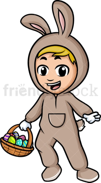 Little boy holding basket with easter eggs. PNG - JPG and vector EPS (infinitely scalable).