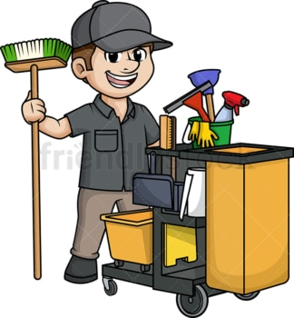 Male janitor with cleaning cart. PNG - JPG and vector EPS (infinitely scalable).