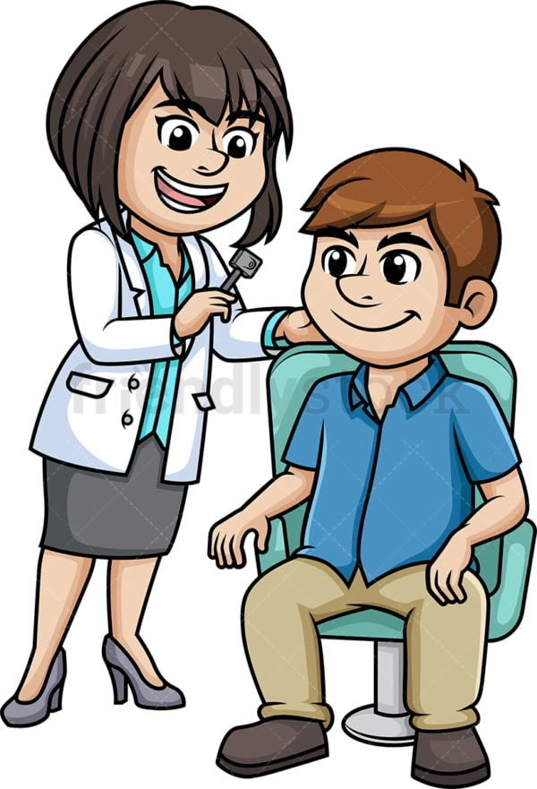 Otolaryngologist examining a patient. PNG - JPG and vector EPS (infinitely scalable).