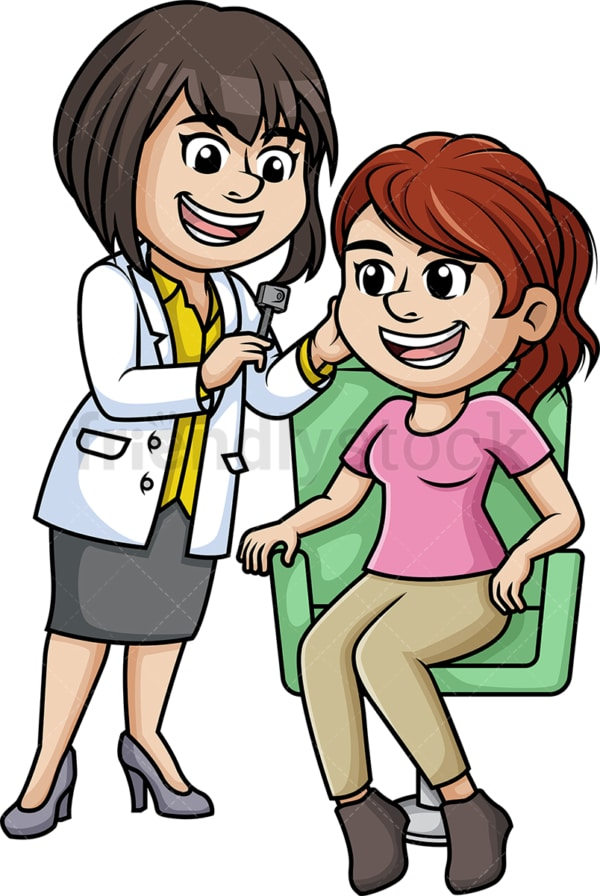 Woman getting her ear checked. PNG - JPG and vector EPS (infinitely scalable).